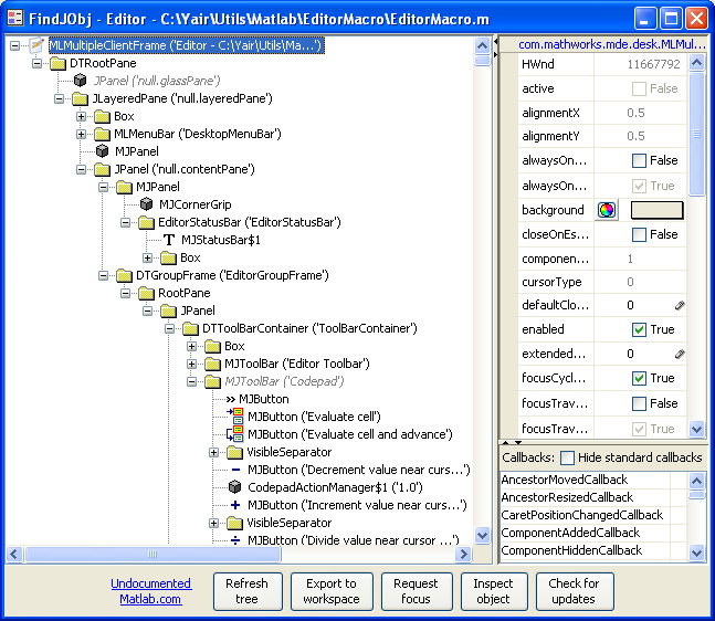 Matlab Editor object hierarchy as seen by findjboj (click to zoom)