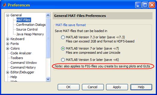Matlab's preferences panels