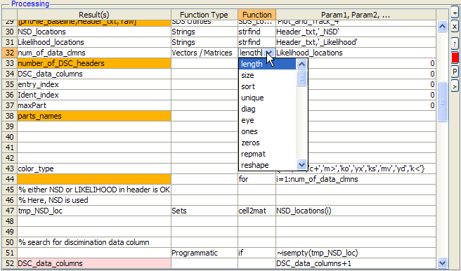 Analysis definition panel