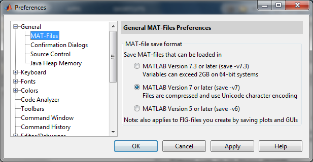 Matlab's preferences for saving binary data