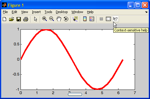 Figure with context-sensitive help action in the main toolbar & menu