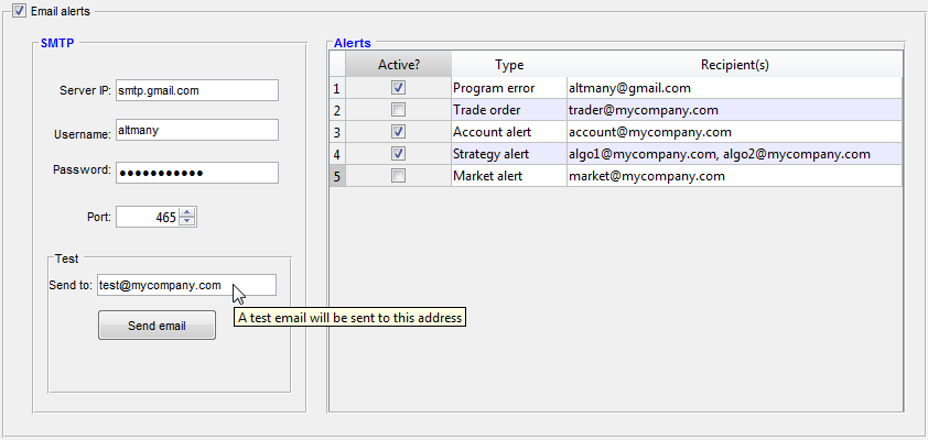 Matlab GUI configuration panel including password and spinner controls (click to zoom-in)